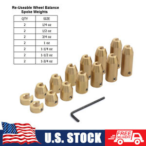 14 Pack Brass Spoke Balancing Wheel Weight Refill Kit For Harley Bmw Gs