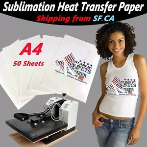 50 Sheet a4 8 5x11 5 heat Transfer Sublimation Paper 4 White light Color T shirt