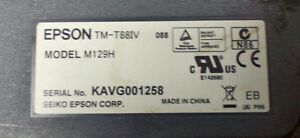 Radiant Epson Tm t88iv Thermal Pos Receipt Printer Serial W Power Cable M129h