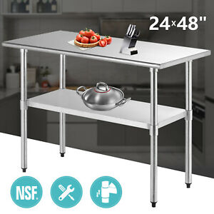 Commercial 24 X 48 Prep Table Stainless Steel Work Food Kitchen