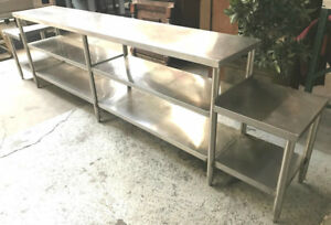 130 X 18 Stainless Steel Work Table With 2 Under Storage Shelves 7549