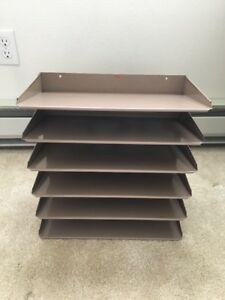 6 tier Metal Desk File Paper Tray In Out Box Organizer Wall Mount