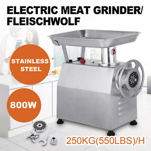 250kg h Commercial Meat Grinder Stainless Steel Plate Electric 550lb h