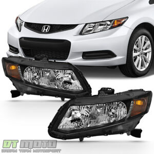 For 2012 2015 Honda Civic Sedan 12 13 Coupe Headlights Blk Headlamps Left right