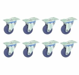 New Set Of 8 Small Swivel Caster Smooth Rolling Rubber poly Wheels 1 5 8 Inch