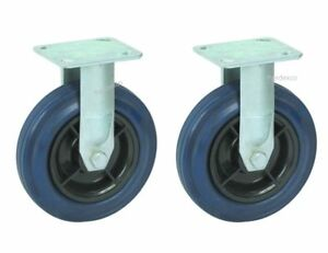 Two Smooth Heavy duty Fixed Straight Steel Plate Caster 5 Rubber Wheel 375 Lb
