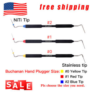 Dental Endo Buchanan Hand Plugger Tip Fill Obturation Gutta Percha Set 0 1 2