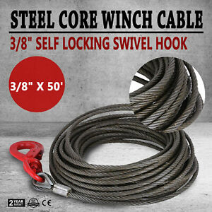 3 8 X 50 Fiber Core Winch Cable Self Locking Swivel Hook V chain Tow Flatbed