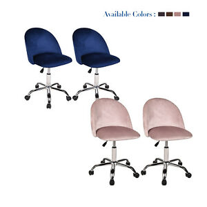 Set Of 2 Home Office Task Chair Accent Rolling Swivel Adjustable Desk Stool Seat