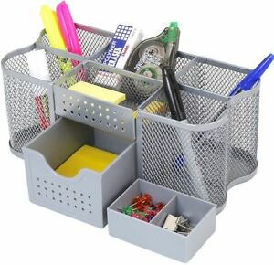 Table Office Supplies Caddy Pens Markers Clips Stand Holder Compartment Rack New