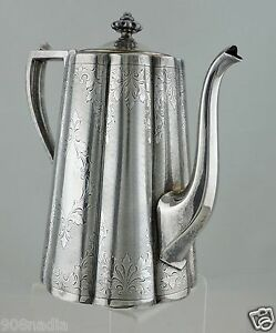 Antique Silver Plate Tea Coffee Chocolate Pot Hand Chased Etched Victorian