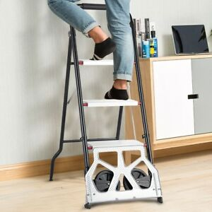 2 in 1 Convertible 3 Step Ladder Folding Hand Truck Cart Dolly Steel W 2 Wheels