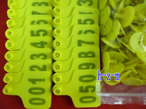 001 200 Number Cattle Use Ear Tag Livestock Tags Labels Cattle Special Yellow