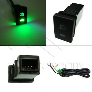 Factory Style 5 Pin 12v Fog Light Green Led Push Button Switch 33mm X 22mm