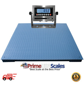 Heavy Duty Floor Scale 7 X 7 84 20 000 Lbs X 5 Lb Stainless Steel Indicator