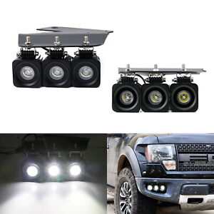 Triple 10w Cree Led Pods W lower Bumper Mount Bracket Wire For 10 14 Ford Raptor