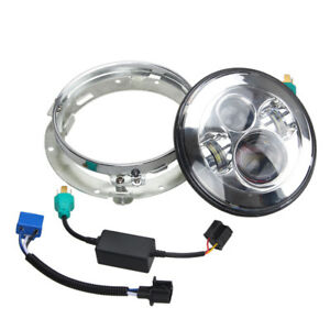 7 chrome Motorcycle Projector Daymaker Headlight Hi lo Led Light Trim Ring
