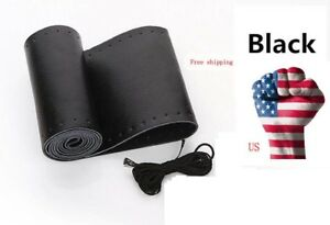 New 14 5 15 Black Motor Genuine Leather Steering Wheel Cover For Car Suv Truck