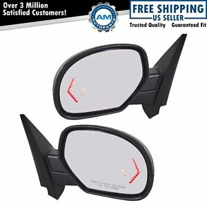 Mirror Power Folding Heated Signal Memory Blind Spot Puddle Chrome Pair For Gm