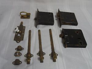 Antique Cast Iron And Brass Door Locks And Hardware