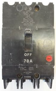 Ge General Electric E11592 M 1070 Circuit Breaker 70a 3 Pole Type Tey