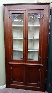 Antique Corner Cabinet Original Purple Violet Stained And Leaded Glass Doors