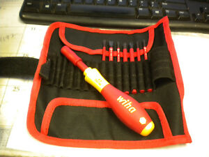 Wiha 28391 Insulated Slimline Interchangeable Set Inc Handle With Pouch 8 pc