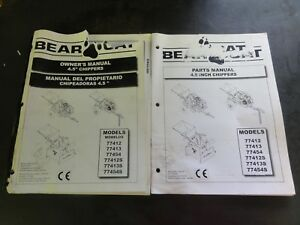 Bear Cat 4 5 Chippers 77412 77413 77454 77412s 77413s 77454s Parts Manual