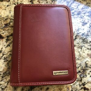 Compact 1 25 Rings Red Leather Franklin Covey Zip Planner binder W Tab
