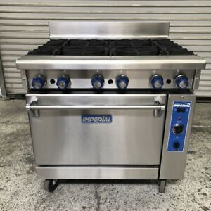 36 Gas Range Convection Oven On Wheels Imperial Ir 6 c 8502 Commercial Stove