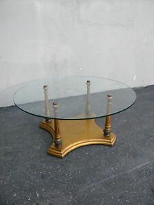 Mid Century Modern Round Vintage Glass Top Coffee Table 3561
