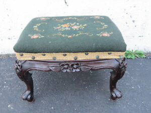 Victorian Carved Solid Mahogany Needle Point Tapestry Foot Stool Bench 8803
