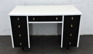 Mid Century Modern Vintage Painted Black And White Computer Desk By Sligh 7467