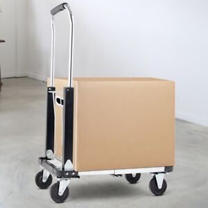 Folding Rolling Extendable Hand Platform Truck Telescoping Handle W 4 Wheels Us