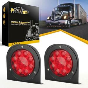 2x4 Round Stop Turn Tail Red 12led Truck Trailer Brake Light W Mounting Bracket