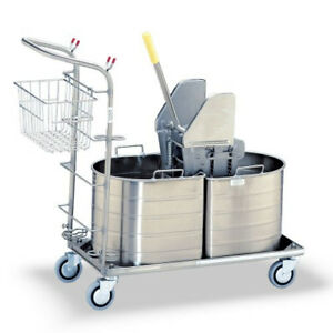 Royce Rolls Stainless Steel Carts With Mop Buckets 1c 215 h