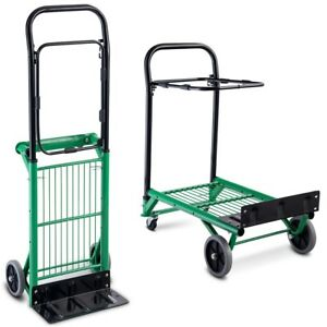 2 in 1 Convertible Folding Metal Hand platform Truck Rolling Trolley Cart Tool
