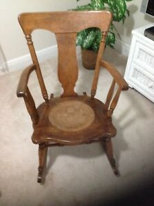 Antique Wood Rocking Chair With Circle Seat