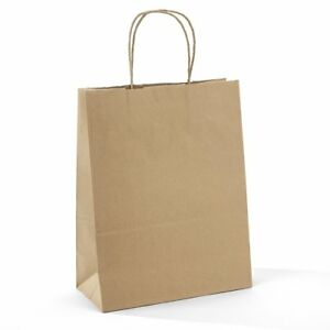 Halulu 10 X 5 X 13 Brown Kraft Paper Bags Gift Bags With Handles Shopping