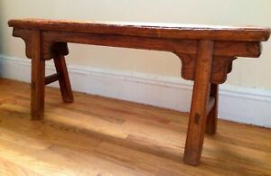 Antique Elm Wood Chinese Hand Carved Bench Vintage Ming Style W 50 Table Decor