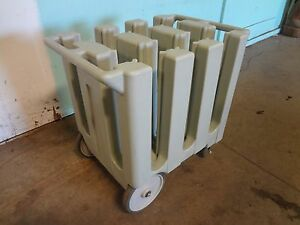 Heavy Duty Commercial cambro 7 Plate Holder dispenser carrier Poly Cart caddy