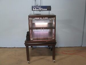 H d Commercial Led Lighted High End Wooden Self serve Bakery Merchandiser Wagon