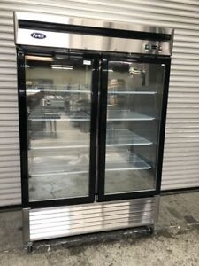 2 Glass Door Reach In Display Freezer New Floor Display Atosa Mcf8703 8515
