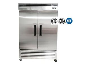 Two Double Door Stainless Steel Restaurant Commercial Refrigerator Cooler Nsf