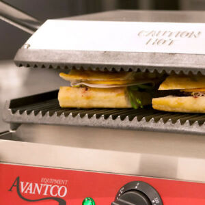 New Avantco P78 Grooved Commercial Counter Panini Press Sandwich Grill Pro New