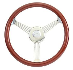 Chevy Hot Rod 15 Mahogany Banjo Steering Wheel With Stainless Steel Spokes