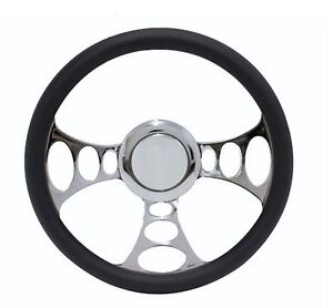Chrome Black Leather Steering Wheel For Ford Cars Trucks W Gm style Columns