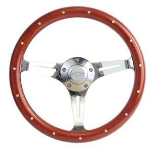 1968 Camaro Mahogany Chrome 15 Steering Wheel Chevy Horn Billet Adapter