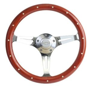 1967 Camaro Mahogany Chrome 15 Steering Wheel Chevy Horn Billet Adapter