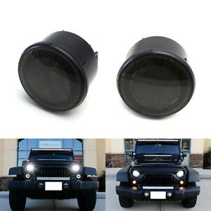 Smoke Lens White Led Halo Drl Light Amber Turn Signal Lamps For Jeep Wrangler Jk